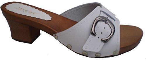 Marited\' Weiß DAMEN HOLZ LEDER CLOGS Pantolette Sandalette Gr 36 37 38 39 40 41 (39)