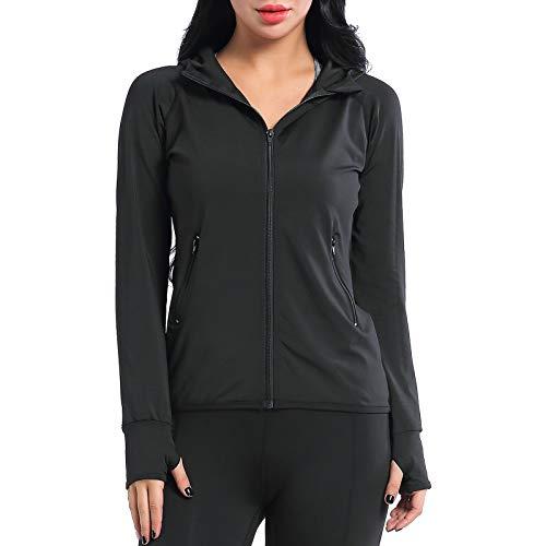 AMZTRENDY Damen Sport Jacke Langarm Hoodie Kapuzenpullover Sweatshirt Sweatjacke mit Daumenloch und Seitentasche Schwarz S