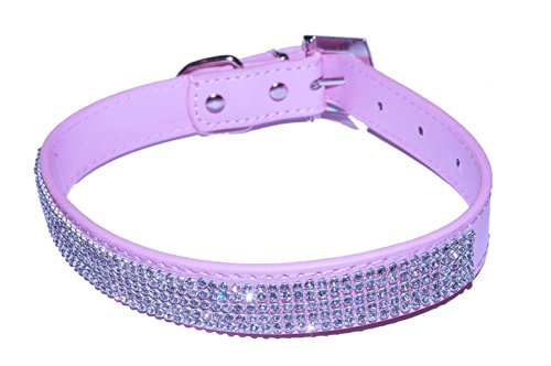 Pet-Palace-Pretty-in-Pink-Leather-Diamante-Studded-Pink-Dog-Collar-Extra-Small-8-105-inch-neck