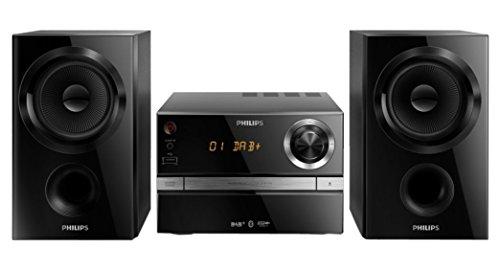 Philips BTB1370/12 Micro-Stereoanlage, Bluetooth, CD/CD-R/ CD-RW/ MP3, digitales UKW-Radio und DAB, 30W, Schwarz