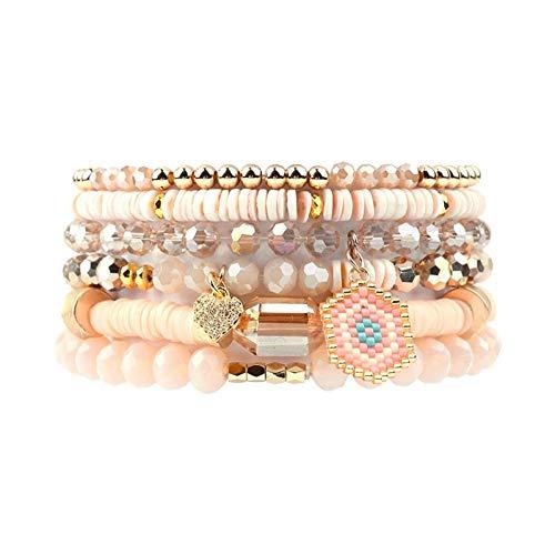 DMUEZW 6 Teile/Satz Evil Eye Herz Charme Armbänder Frauen Multicolor Kunststoff Kristall Gold Kupfer Perlenarmband Femme Schmuck
