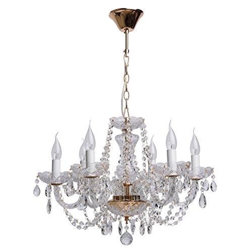 Lampadario da soffitto lussuoso in metallo colore oro francese stile barocco gocci di cristallo trasparente in soggiorno salotto o camera da letto 6 * 60w e14 - escl