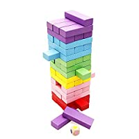 Lewo Wooden Stacking Toys Board Games Building Blocks for Kids - 48 pieces