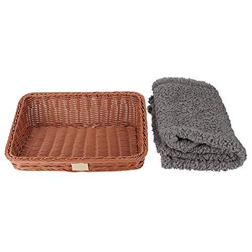 HEEPDD Katzenbett, PP Woven Pet Basket Nest mit Plüsch Wolldecke Trapez Vier Jahreszeiten Bett für Katzen Kitten Puppy Rabbit -