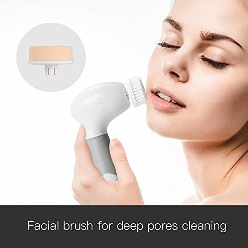 Cepillo limpiador facial 4 en 1 Spaire IPX7 Cepillo facial eléctrico resistente al agua 4 cabezas de cepillo reemplazables ideales para exfoliar la piel,  limpiar y masajear