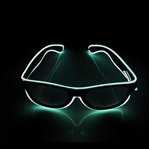 San Zhi LED Leuchtend Brille EL Wire Brillen mit Schaltersteuerung, Neuheit Kleid Dekor für Weihnachtsfeier (Weiß)