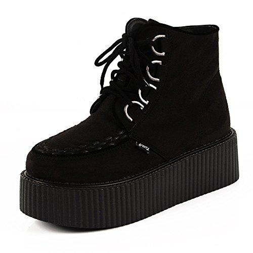 RoseG Damen Schnürsenkel Flache Plateauschuhe High Top Creepers Boots Schwarz Size37 (Schwarze Neue Leder-high-top)