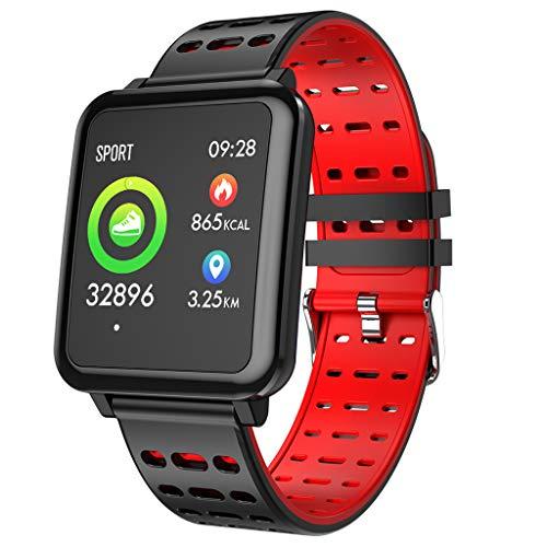 UJUNAOR 2019 Neu T2 Smart Watch Sport Fitness Tracker Herzfrequenz Blutdrucküberwachung Uhren(Rot)