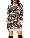 Auxo Sudaderas con Capucha para Mujer Jersey de Manga Larga Bolsillos Casuales de Gran tamaño sólidos Sudadera con Capucha túnica Mini Vestido Tops Largos con Capucha