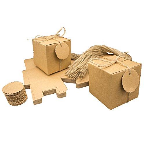 50 x Kraftpapier Geschenkbox mit Juteschnur & Geschenkanhänger Geschenkschachtel Bonboniere Geschenkverpackung Gastgeschenk Gift Tags Papieretiketten Hochzeit Weihnachten Taufe Vintage