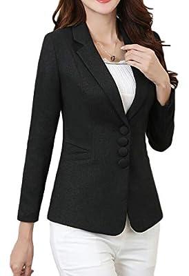 VaeJY Womens Lapel Collar Formal Long-Sleeve Coat Casual Blazer Jackets