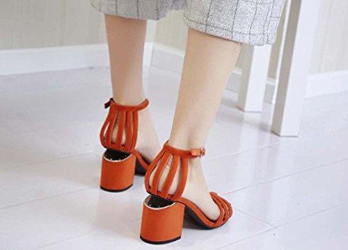 NobS Sandales creuses en cuir Chaussures à talons ronds à talons ronds Orange