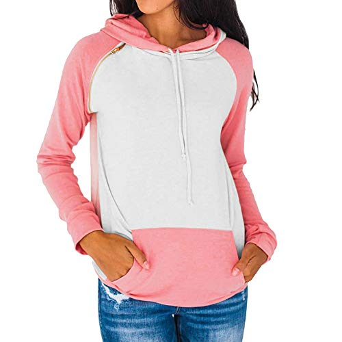 Clearance Innerternet Women Long Sleeve Tops Pocket Patchwork Hooded Sweatshirt Pullover Tops Blouse Party Dress for Indoor Outdoor