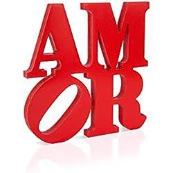 """Escrito en madera AMOR color Rojo - Decoración para el hogar - Placa de madera con la inscripción """"AMOR""""- Made in Italy design contemporaneo Colorscrazy"""