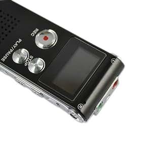 Noir - SHQ(192kbps) Micro espion Dictaphone Numérique/Mp3 lecteur avec Haut-parleur intégré - 8Go