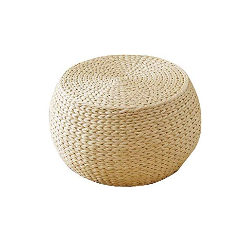 pouf tricot pouf rond rotin Coussin japonais en tatami Coussin Méditation Yoga ,Coussin de plancher de futon d'herbe tissée d'armure, tapis de méditation de yoga de Zafu tissé par paille à la main