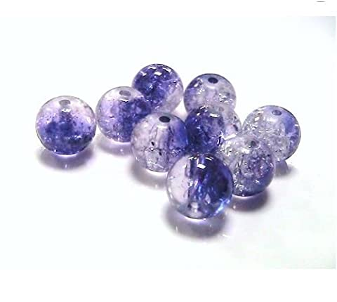 70 x 8mm Purple & Clear Two -Tone Colour Glass Crackle Beads Beading (Crafts - Jewellery Making Beads - Fashion Charms - Jewelry Accessories - Jewellery Findings) D1