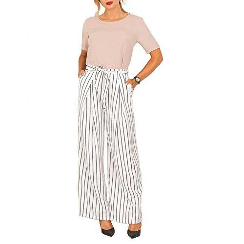 Junshan Damen Hosen Elegant High Waist Damen Pumphose Haremshose Blumenmuster Lange Striped hose Casual Pants Schleife