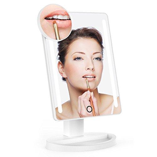 LED Espejo de maquillaje iluminado luz de día natural con 10 aumentos Espejo de punto y soporte de 180 grados para encimera Cosméticos