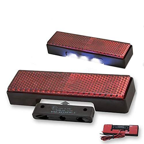LED Kennzeichenleuchte Motorrad Rückstrahler Set 94x27,5mm Reflektor Katzenauge Quad Roller E-geprüft