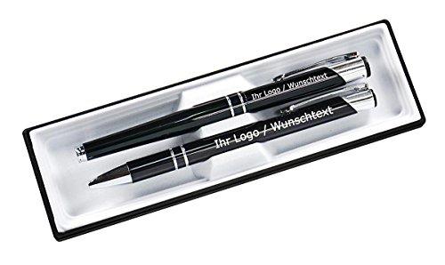 Edles Schreibset aus Metall mit Füller und Kugleschreiber mit Wunschgravur in Etui. 9 Farben wählbar, Farbe:C-01 (schwarz)