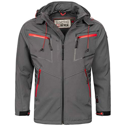Arctic Seven Herren Designer Softshell Funktions Outdoor Regen Jacke Sport AS088 [AS-088-Dunkelgrau-Gr.L]
