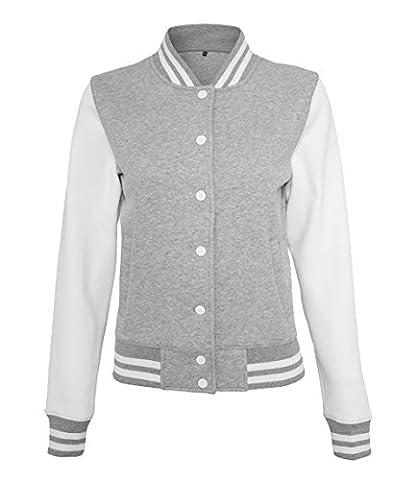 Artdiktat Oldschool Sweat College Jacket Damen - CAPTAIN PIRATE SKULL WITH DAGGER Größe XL, grauweiß