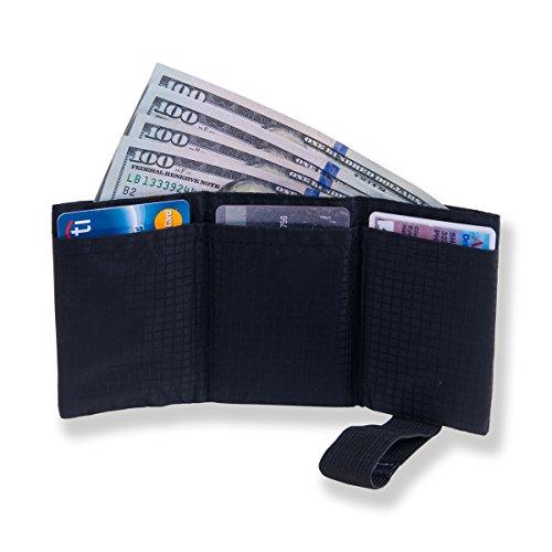 Ultradünnes Nylon-Trifold-Portemonnaie für Herren mit RFID-Blocker - Fasst bis zu 12 Kreditkarten und Scheine (Flap Front Clutch)