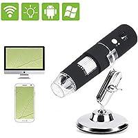 Akozon Microscopio WiFi HD 2MP 1000X Digital Microscopio Electrónico con 8 LED USB