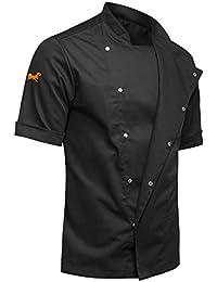 strongAnt® - Kochjacke Herren mit verdeckten Druckknöpfen YKK Bäckerjacke Kurzarm - Slim Style, Slimfit - schwarz L