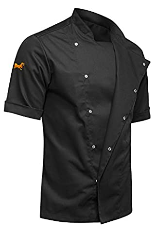 KERMEN - Men chef's jacket with hidden clasps, baker's jacket with short sleeves and in black, made in EU -