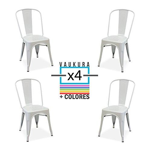 Vaukura Silla Tolix(Pack 4) - Silla Industrial Metálica Brillo (Varios Colores) (Blanco)