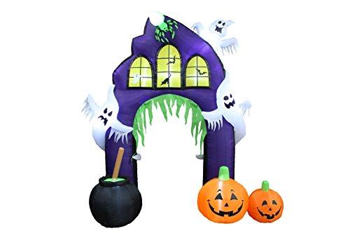 Fledermaus Fuß Kostüm - 9Fuß hoch Halloween aufblasbar Castle Torbogen mit Kürbissen und Geistern