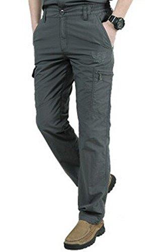 Insun-Giacca Outdoor Multi-pocket grande e alto tasche Cargo Pantaloni grigio Medium