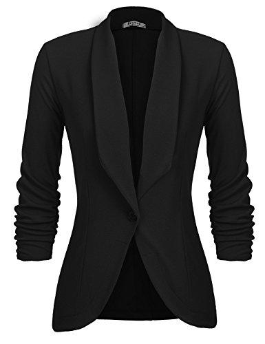 L'AMORE Damen Blazer Tailliert Kurz Elegante Langarm Slim Business Büro Jäckchen Anzug Casual Kurzblazer Mantel Jacke Oberteil