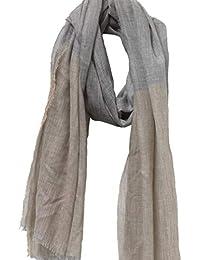 205 x 72 cm Woll-Stola Damen-Stola Damen-Schal Woll-Schal Fransen-Schal Fransen-Stola schwarz-grau Eve in Paradise Oriana Stola ca