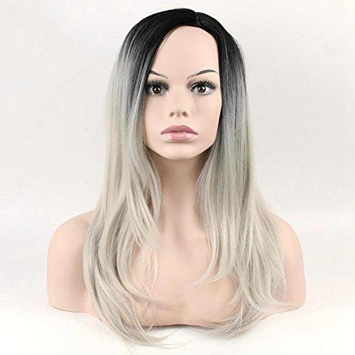 DAYYN 55CM Frau Perücke Synthese Natürlich und Realistisch Langes, Glattes Haar Kopfbedeckung Schwarz Gradient Silver Grey -