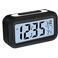 Zorara Réveil électronique, Alarm Réveil Matin avec Grand écran LCD 12 / 24h, Fonction Snooze, Rétro-éclairage, Veilleuse, Température, Affichage de la Date, Alimenté par Batterie