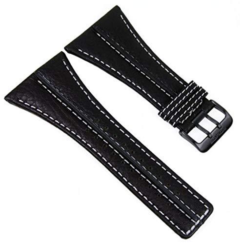 Police Ersatzband Uhrenarmband Leder schwarz/weiss 43mm 11397 P.11397