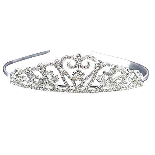 TIREOW_Hochzeit Braut Strass Kristall Tiara Krone Geburtstag Party Prinzessin Diadem (Silber)