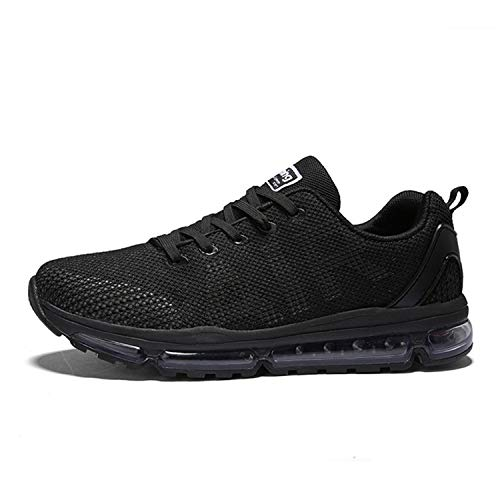 Axcone Homme Femme Air Running Baskets Chaussures Outdoor Running Gym Fitness Sport Sneakers Style Respirante,Noir,38 EU