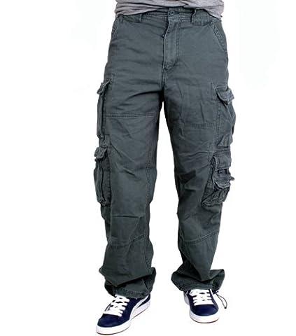 Jet Lag 007Pantalon cargo pour homme Coupe large Avec cordon pour clés Fabfive Camo - bleu - One Size