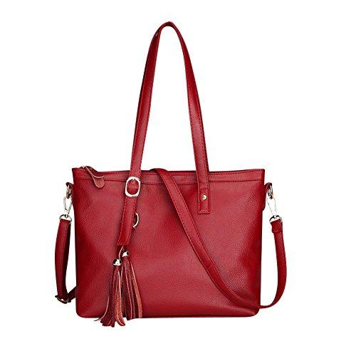 Damen Handtaschen Schultertaschen Umhängetaschen PU Leder Henkeltaschen Tote Damen Taschen Rot