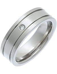 Theia Titanium Flat Court 0.05ct Diamond Matt and Groove 7 mm Ring