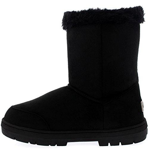 Pele Sleet Caiu Botas Roap Alternância Sapatos De Inverno Femininos Única De Preto Botas qBwYxza