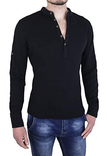 Evoga camicia uomo casual nera in cotone mod. serafino coreana lino (m, nero)