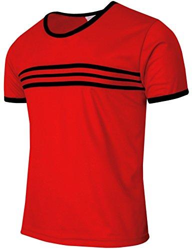 BCPOLO Männer Casual CoolMax Fabric Rundhals Kurzarm T-Shirt tägliche Abnutzung-red XS