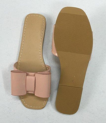 Mme sandales sandales et pantoufles Xia Jiping pantoufles bas mot glisser plat avec des chaussures de grande taille étudiantes Pink