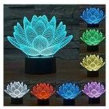 3D Nuit fleur de lotus LED Lampe...