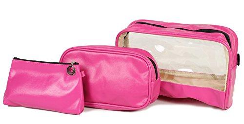 3 pezzi Borsa lavabile, borsellino porta trucchi, in confezione regalo Rosa BZ4345 Magenta Wash bag / cosmetic purse set